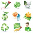 Vector cartoon style icon set. Part 18. Ecology - Stock Vector