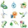 Vector cartoon style icon set. Part 19. Ecology — Stock Vector
