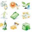 Vector cartoon style icon set. Part 21. Ecology - 图库矢量图片