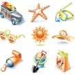 Vector cartoon style icon set. Part 16. Traveling - Stock Vector
