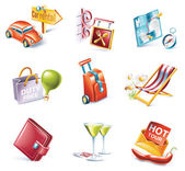 Vector cartoon style icon set. Part 15. Traveling — Stock Vector