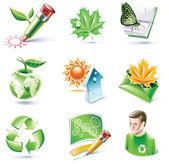 矢量卡通样式的图标集。第 18 部分。生态学 — 图库矢量图片