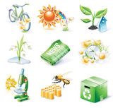 Vector cartoon style icon set. Part 21. Ecology — Vecteur