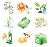 Vector cartoon style icon set. Part 21. Ecology — Stock Vector