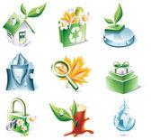 Vector cartoon style icon set. Part 20. Ecology — Stock Vector