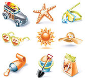 Vector cartoon style icon set. Part 16. Traveling — Stock Vector