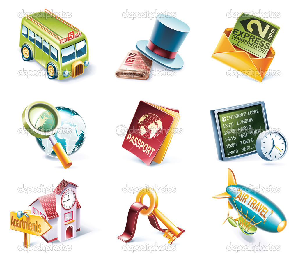 Set of highly detailed cartoon icons — Stock Vector #8602228