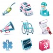 Vector cartoon style icon set. Part 26. Medicine — Stock Vector