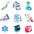 Vector cartoon style icon set. Part 26. Medicine - Stock Vector