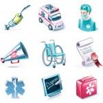 Vector cartoon style icon set. Part 26. Medicine — Stock Vector
