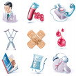 Vector cartoon style icon set. Part 28. Medicine — Stock Vector