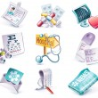 Vector cartoon style icon set. Part 29. Medicine - Vettoriali Stock 