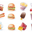 Vector cartoon style icon set. Part 22. Fast Food - Stock Vector