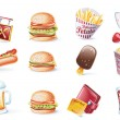 Vector cartoon style icon set. Part 22. Fast Food — Stock Vector #8620066