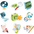 Vector cartoon style icon set. Part 23. School - Stock Vector
