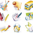 Vector cartoon style icon set. Part 24. School - Stock Vector
