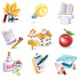 Vector cartoon style icon set. Part 25. School - Stock Vector