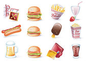 Vector cartoon style icon set. Part 22. Fast Food — Stock Vector