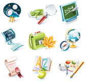 Vector cartoon style icon set. Part 23. School — Stock Vector