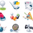 图库矢量图片: Vector cartoon style icon set. Part 35. Sport