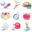 Vector cartoon style icon set. Part 34. Sport - Stock Vector