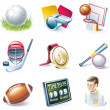 Vector cartoon style icon set. Part 33. Sport - Stock Vector
