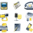 Vector communication icon set. Media — Stock Vector