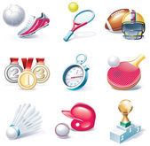 Vector cartoon style icon set. Part 34. Sport — Stock Vector