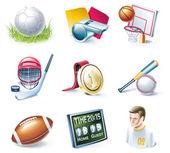 Vector cartoon style icon set. Part 33. Sport — Stock Vector