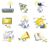 Vector communication icon set. Internet, part 1 — Stock Vector