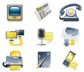Vector communication icon set. Media — Stock Vector