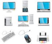 Vector white computer icon set. Part 1. PC — Stock Vector