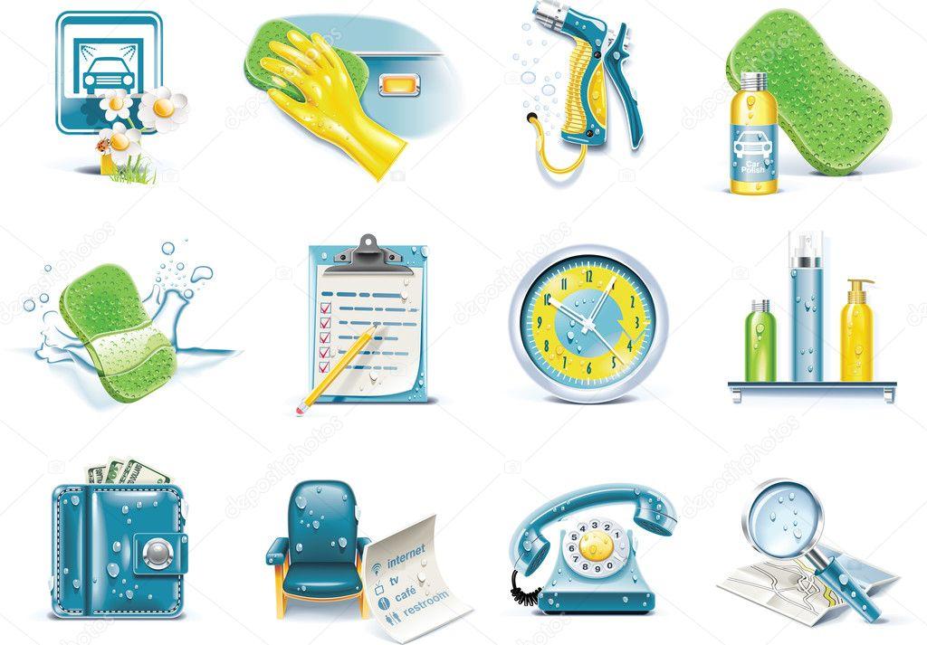 Car Icon Set Set of Car Wash Service
