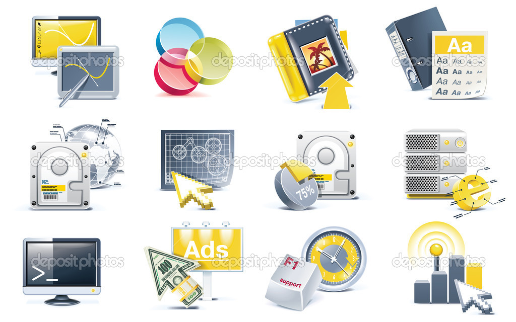 Set of web-page development related icons in gray and yellow colours — Stock Vector #8938012