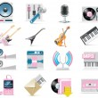 Vector audio and music icon set — Stock Vector