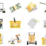 Vector online shopping icon set — Stock Vector