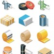 Vector building products icons. Part 2. Insulation - Stock Vector