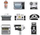 Vintage technologies icon set — Stock Vector