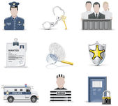Vector law and order icon set. Part 2 — Stock Vector