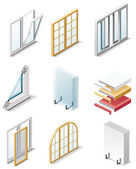 Vector building products icons. Part 4. Windows — Stock Vector