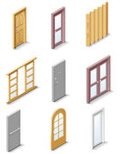 Vector building products icons. Part 3. Doors — Stock Vector