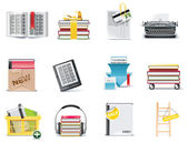 Vector library and book store icon set — Stock Vector