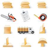 Vector lumber icon set — Stock Vector