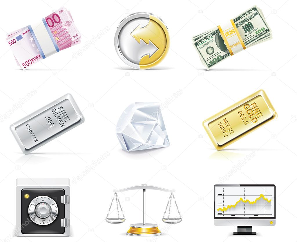 Set of on-line banking related icons — Stock Vector #9000509