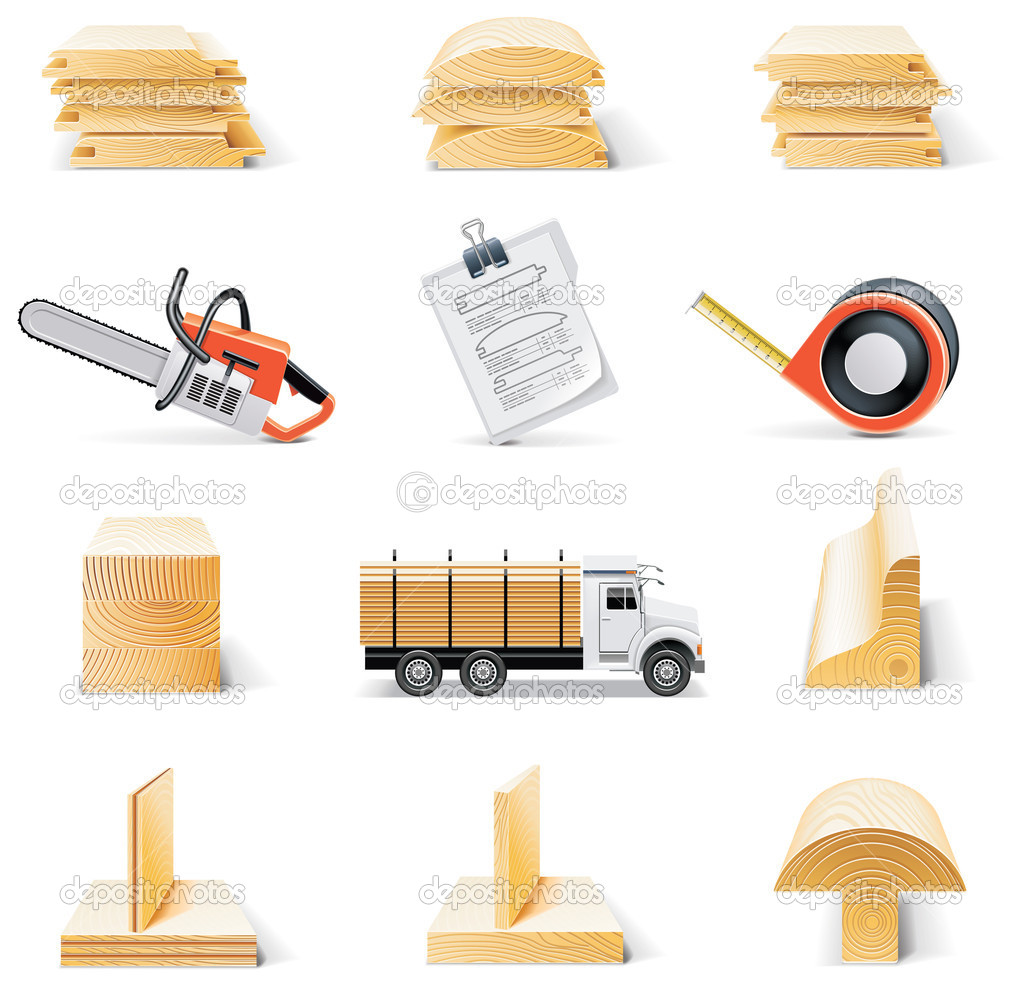 Set of lumber related icons — Stock Vector #9001763