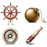 Vector iconos viajes marinos. parte 3 — Vector de stock
