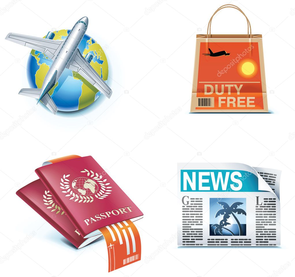 Set of icons representing air traveling and related objects — Stock Vector #9014537