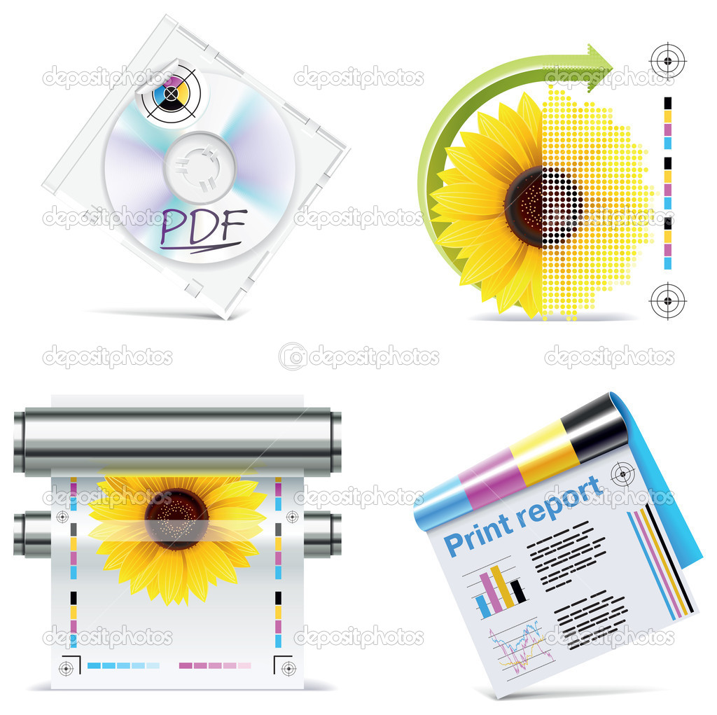 Set of prepress and print work related icons — Stock Vector #9015741