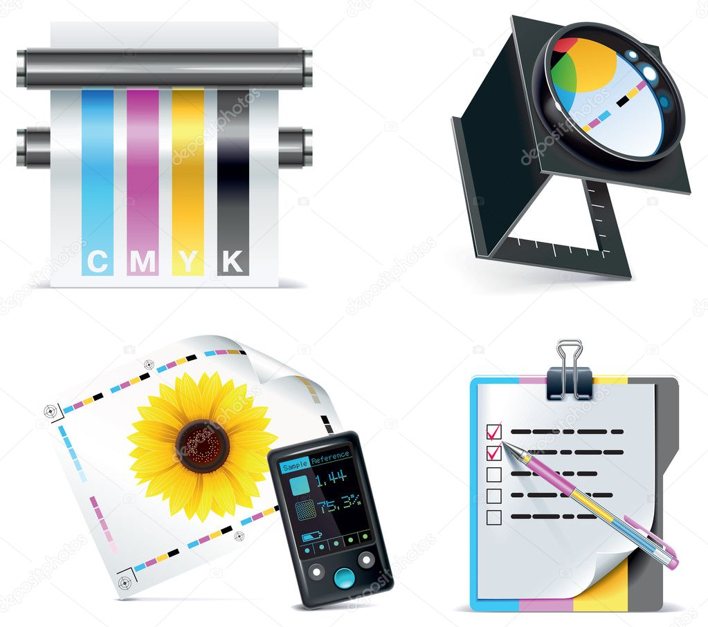Set of prepress and print work related icons — Stok Vektör #9015746