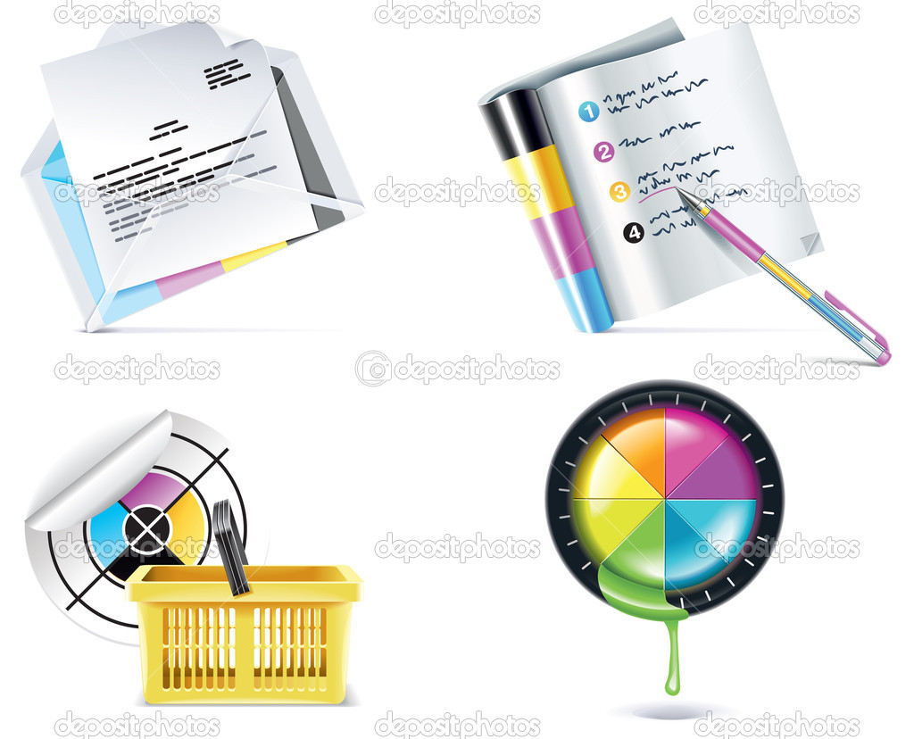 Set of prepress and print work related icons — Stock Vector #9015749
